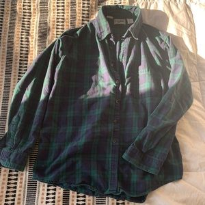 L.L. Bean Green and Blue Flannel Size L